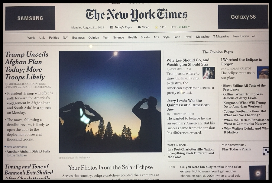 "My photograph appeared on the front-page of The New York Times. I took a quick screenshot of it above the digital ""fold."""
