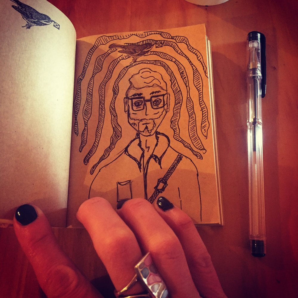 coffee shop random doodle. tiny notebooks work, too.