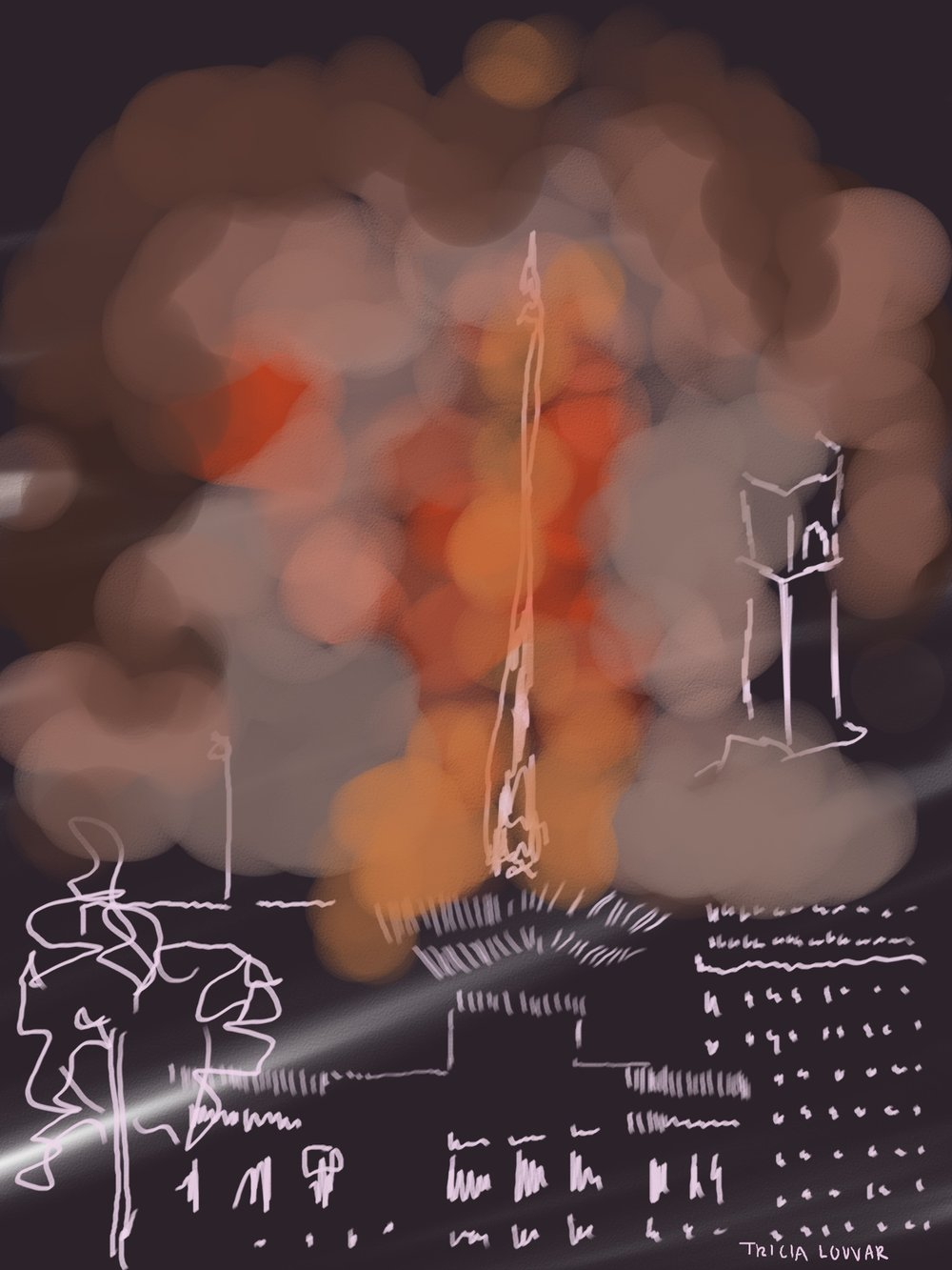 15 April, 2019  Monday     l Tax day in America. And now the day will be known as a historical burn in Paris. All is ephemeral  on earth.   15-minute sketch. Day 03/365