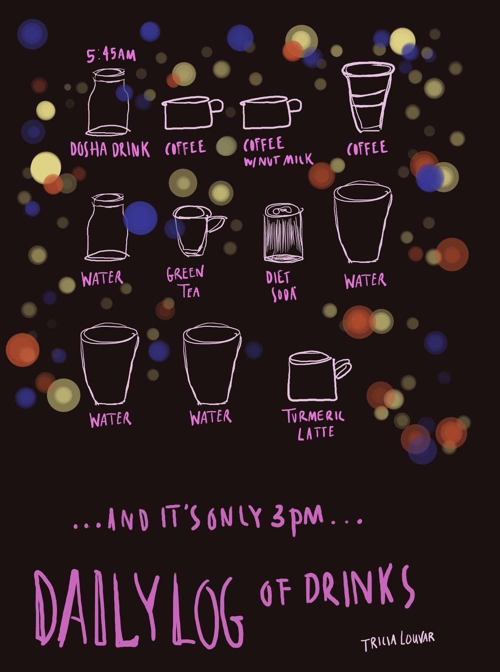16 April 2019, Tuesday  l Daily log of drinks (the book editor's edition).  15-min sketch; diary comic Day 4/365
