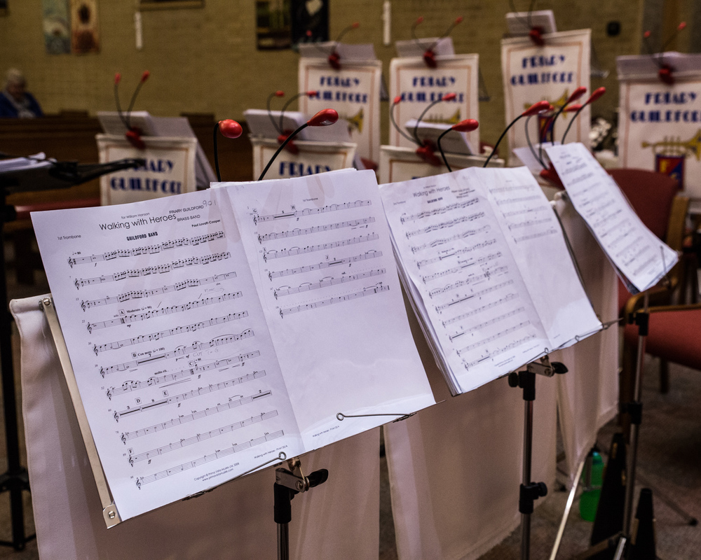 Music stands primed and ready to go