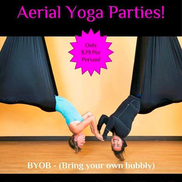 Bring your friends and throw your own Aerial Yoga Party! Schedule yours by contacting info@karmayoganw.com!