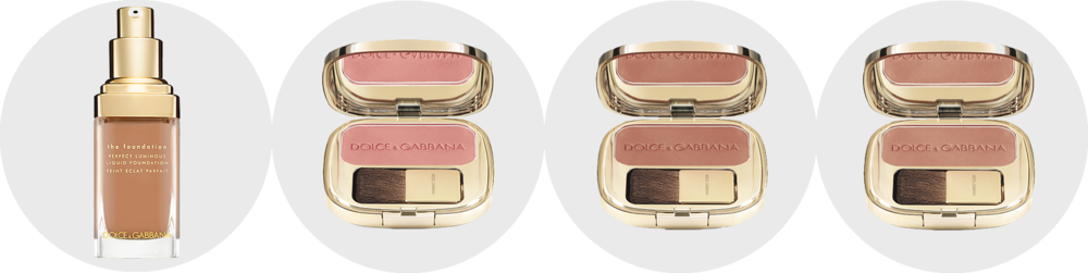 Dolce&Gabbana Make-Up Perfect Luminous Liquid Foundation in Soft Tan and Luminous Cheek Colour in Rosebud, Apricot and Peach