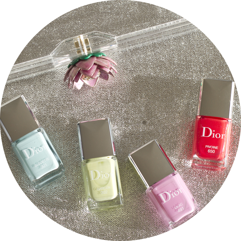 Dior Glowing gardens nail collection nail polish in Bluette, Pivoine, Lilac and Garden