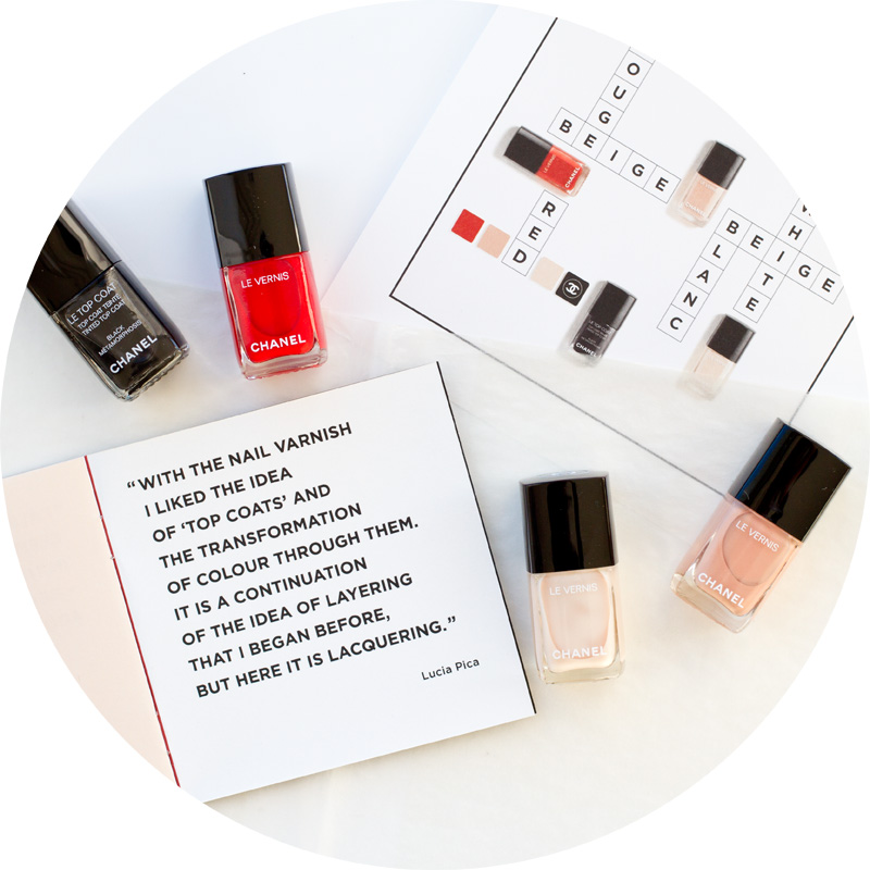 Coco codes chanel spring 2017 makeup collection - le vernis longue tenue in blanc white, beige beige, rouge red and le top coat balck metamorphosis - le vernis longue tenue rouge red - le vernis longue tenue blanc white - le vernis longue tenue beige beige