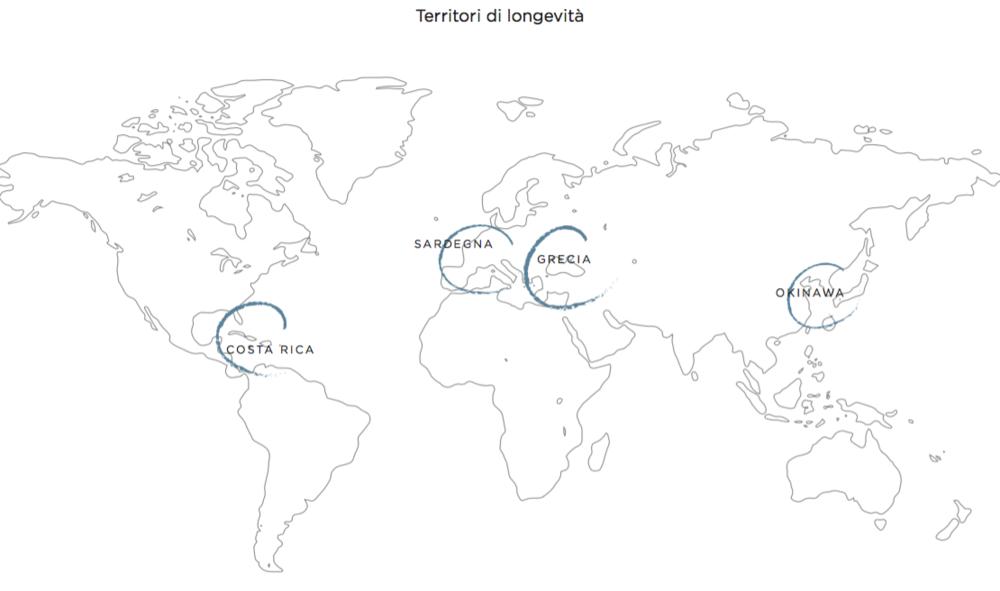 Sardegna, Italia; Okinawa, Giappone; Penisola di Nocoya, Costa Rica; Icaria, Grecia