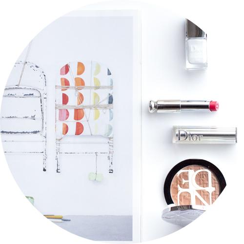 Dior Vernis in Optic White;Dior Addict Lipstick in Gentle Red;Diorskin Nude Air Care & Dare Protecting Glow Powder.