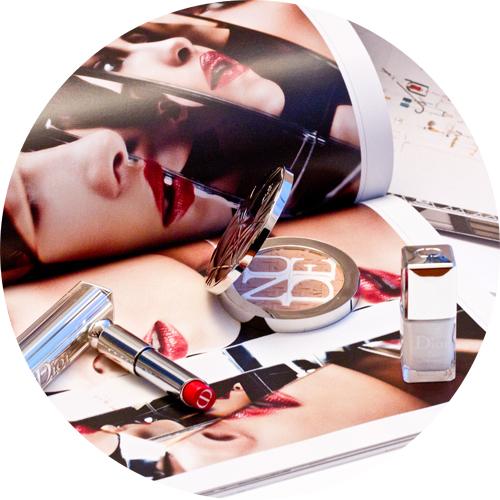 My Dior Care & Dare picks: Dior Addict Lipstick in Gentle Red,Diorskin Nude Air Care & Dare Protecting Glow Powder and Dior Vernis in Optic White