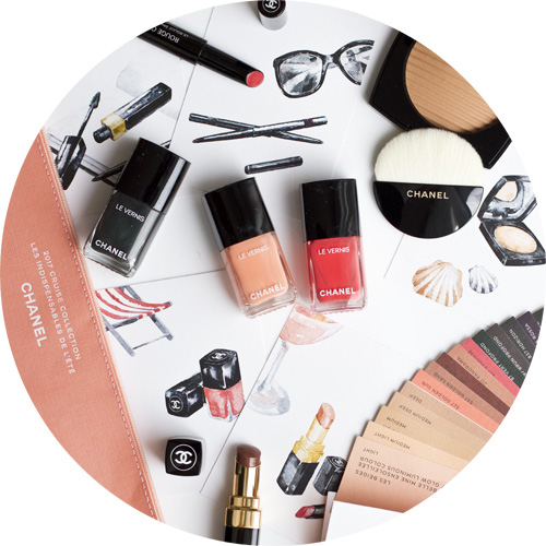 ROUGE COCO STYLO in Esquisse, LES BEIGES POUDRE BELLE MINE ENSOLEILLÉE, ROUGE COCO SHINE in Golden Sand, VERNIS LONGUE TENUE in Coralium, VERNIS LONGUE TENUE in Coquillage, VERNIS LONGUE TENUE in Sargasso.