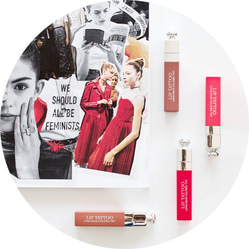 """That is why """"We Should All Be Feminist"""" is a great slogan for the new concept of Dior Addict Lip Tattoo, which with its long hold, no-transfer effect, vibrant color and weightless texture, aims to comfort while always taking our feminine and seductive side into account."""