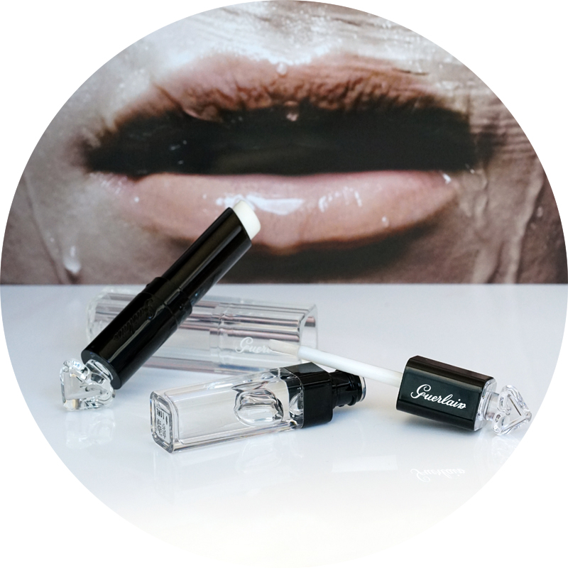 Guerlain  La Petite Robe Noir Lip & Shine Hydrating Base & Glossy Top Coat  and  Le Rouge à Levres Delicieusement Brillant : il  Lip Strobing 005