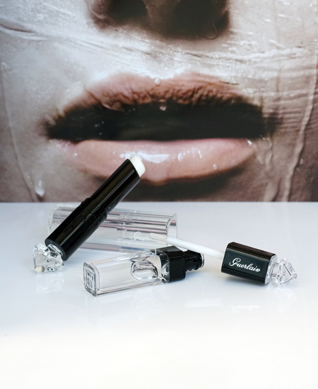 Guerlain  La Petite Robe Noir Lip & Shine Hydrating Base & Glossy Top Coat  and  Le Rouge à Levres Delicieusement Brillant