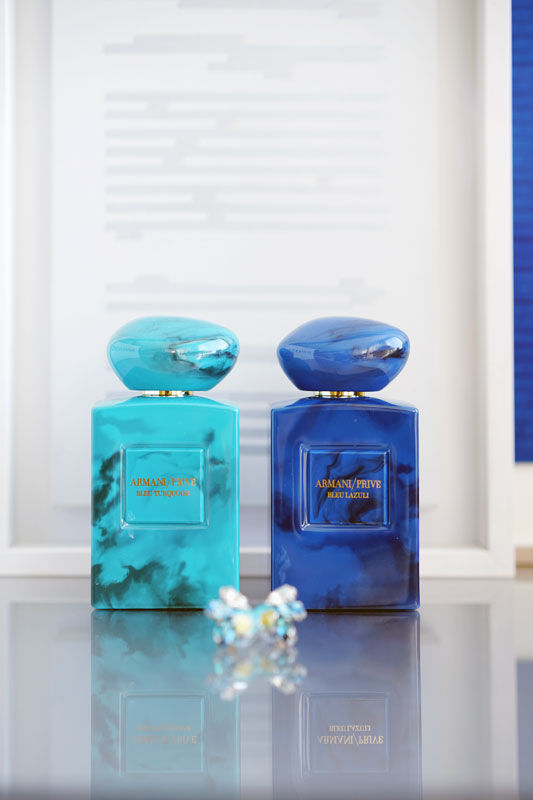 Armani Privé  celebrates the power of blue adding two new unisex fragrances to its Haute Couture collection  Terres Précieuses :  Bleu Lazuli  and  Bleu Turquoise .