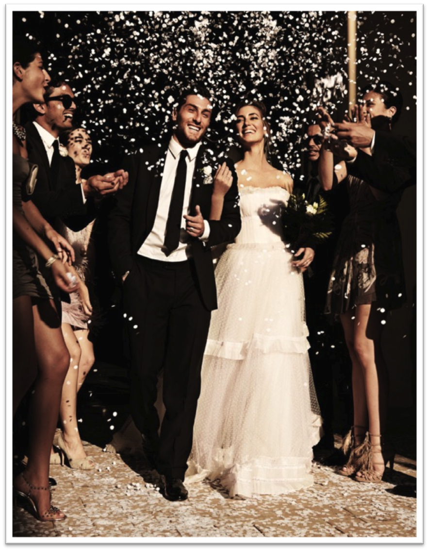 {Via} Confetti is a classic choice. Great for a glamorous, black tie wedding.