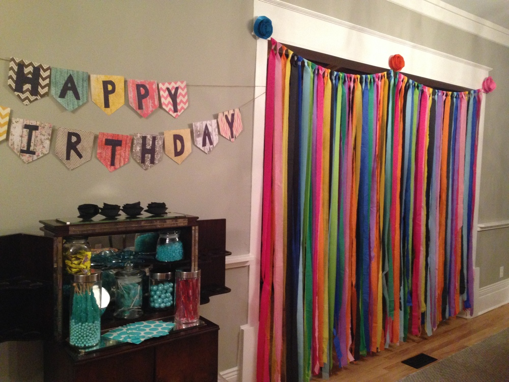 Diy birthday party decorations milk glass productions we were inspired by this streamer tutorial here this design was intended for a photo booth backdrop but we thought it would look better between doorway teraionfo