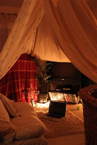 Romantic grown up fort ideas for a nostalgic date night milk glass productions for How to make a fort in the living room