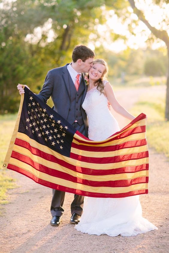 Adding an American flag to the Bride and Groom photos add a sweet touch of the American pride!