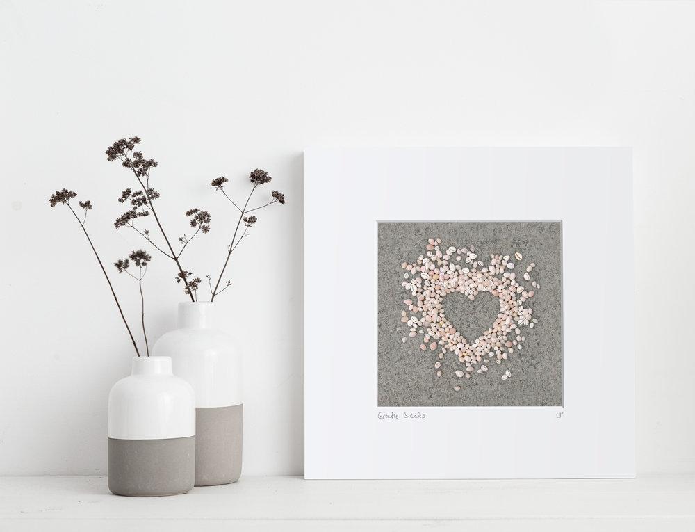 wee groatie Buckie print caithness shells shell art heart