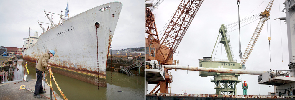 Allied Defense Recycling dismantling ships at a Mare Island dry dock in Vallejo, Calif.