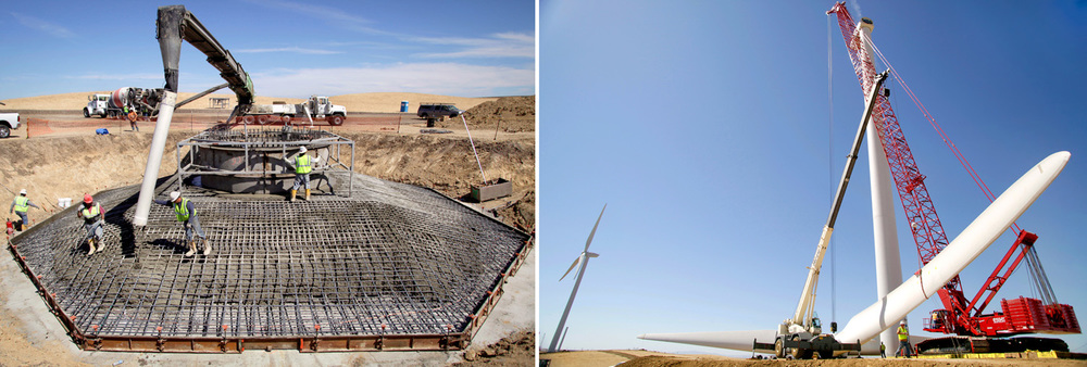 Wind turbine construction at enXco's Shiloh III project outside Rio Vista, Calif.
