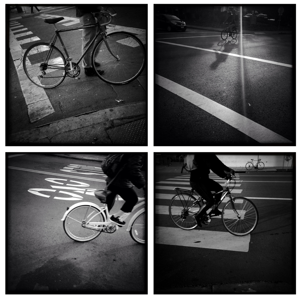Bicyclists riding the streets of Berkeley, Calif.