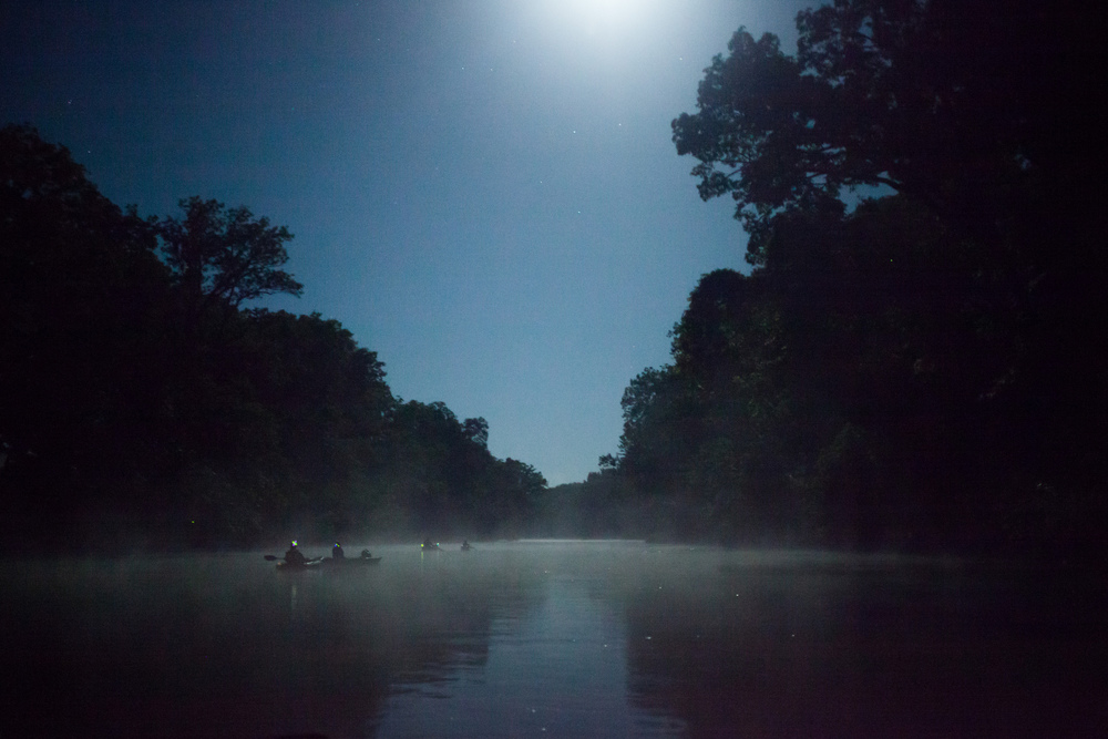 Floating the James River under a full moon in the Ozarks.