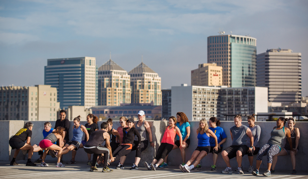 Boot Camp workout at Jack London Square in Oakland, Calif.