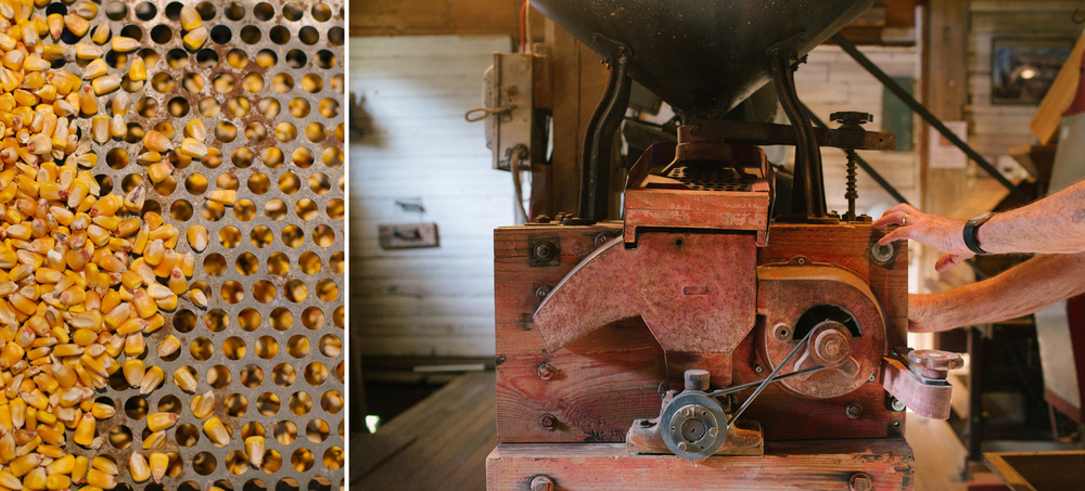 The milling stones are enclosed in a wooden box and now powered with electricity at Clyde and Janet Beal's Britain Mill at Turnback Creek near Halltown, Mo. on Aug. 13, 2015. Photos by Brad Zweerink