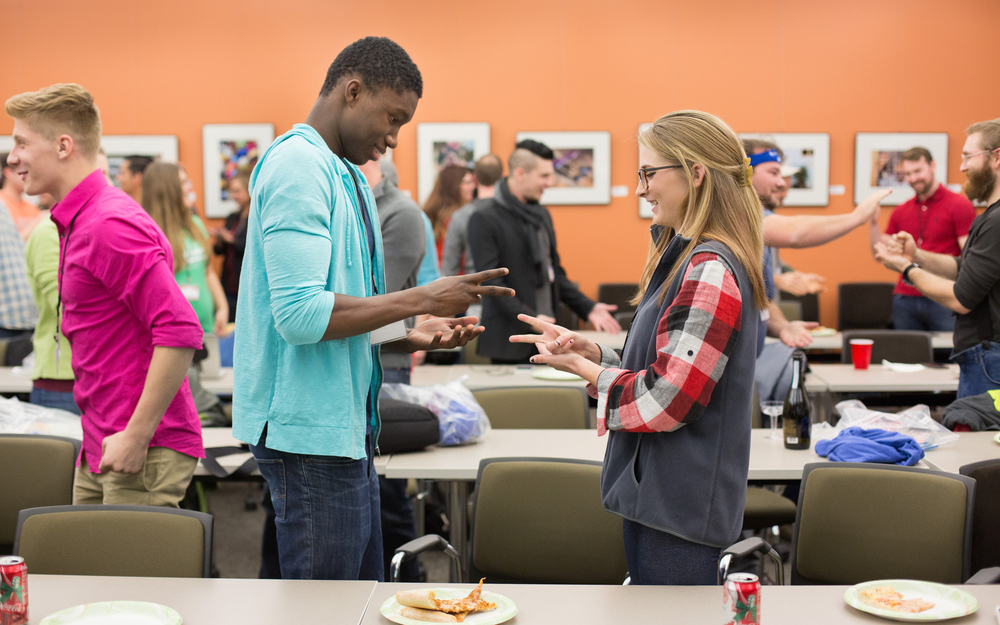 Anthony Collette, 16, left, and Sivana Brewer, 17, who are part of the GO CAPS program at the eFactory, participate in the Startup Weekend Springfield competition at the eFactory in Springfield, Mo. on Nov. 20, 2015. Photos by Brad Zweerink