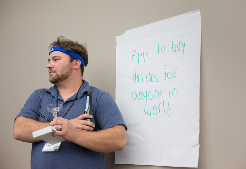 Logan Elsey with his pitch idea at the Startup Weekend Springfield competition at the eFactory in Springfield, Mo. on Nov. 20, 2015. Photos by Brad Zweerink