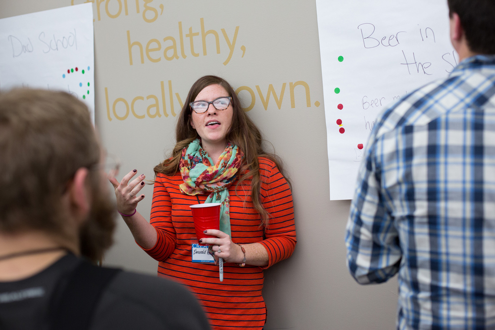 Emerald Hindery, who started Brew For My Do, talks with potential team members during the Startup Weekend Springfield competition at the eFactory in Springfield, Mo. on Nov. 20, 2015. Photos by Brad Zweerink