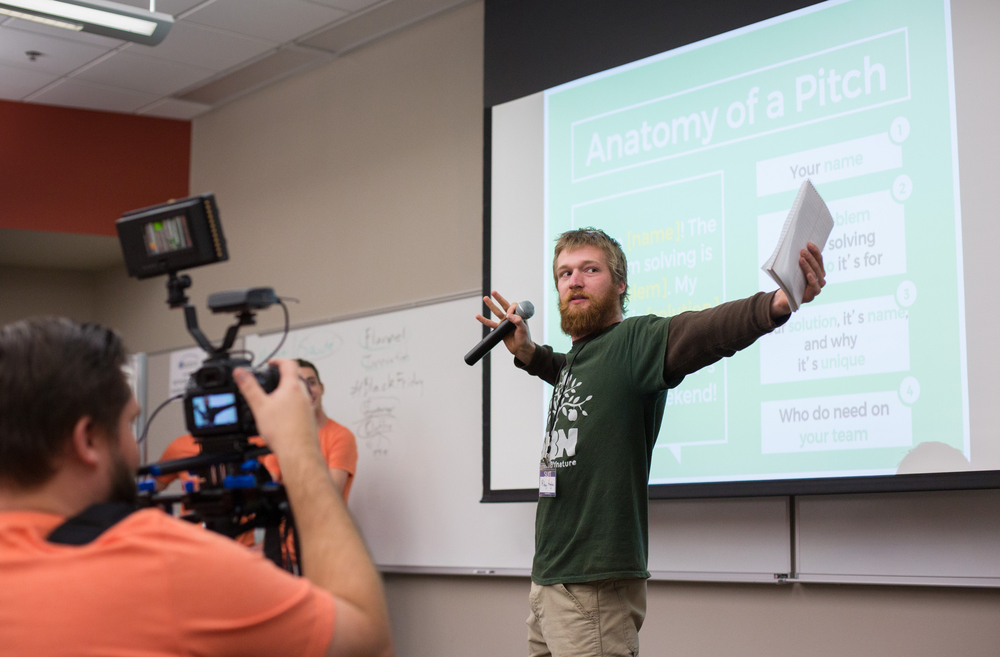 Drake Hughes gives his one minute pitch during the Startup Weekend Springfield competition at the eFactory in Springfield, Mo. on Nov. 20, 2015. Photos by Brad Zweerink