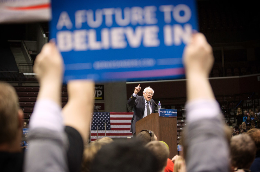 Democratic presidential candidate Sen. Bernie Sanders, I-Vt., speaks during a campaign rally at JQH Arena at Missouri State University in Springfield, Mo., Saturday, March 12, 2016.
