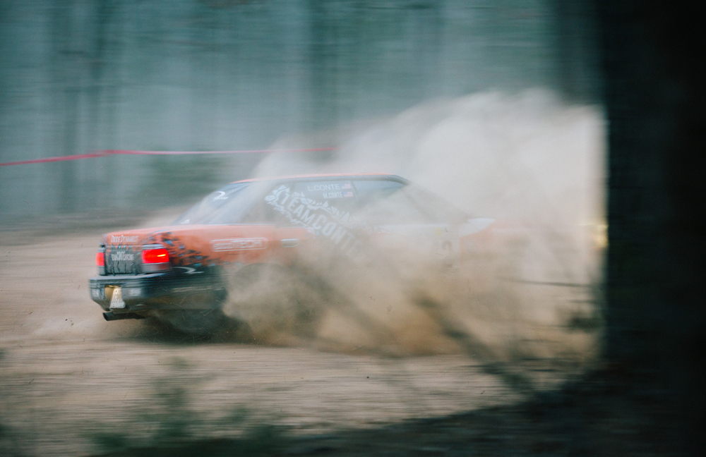 Matthew Conte and co-driver Lauren Conte spin out on stage six.