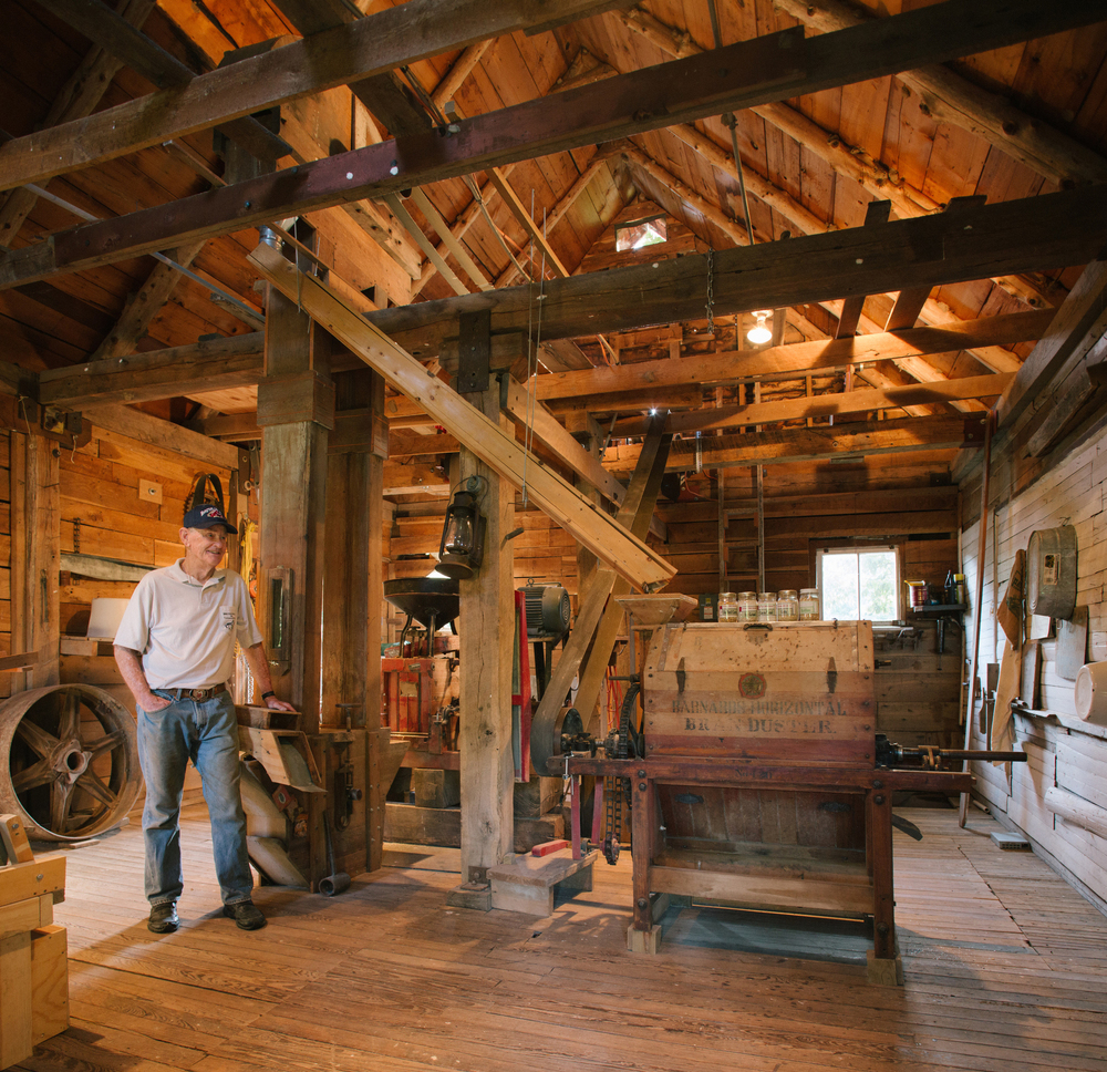 Clyde and Janet Beal's Britain Mill at Turnback Creek near Halltown, Mo. The working mill was established in 1839 and was restored by the Beals as a retirement project. Photographed for Feast Magazine.