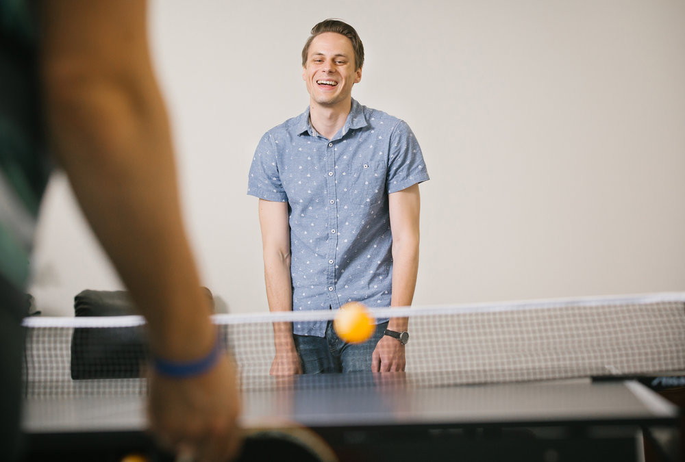 PILR TECH developer Michael Rice in the office's ping pong room in Joplin, Mo. on Sept. 27, 2016. Photo by Brad Zweerink
