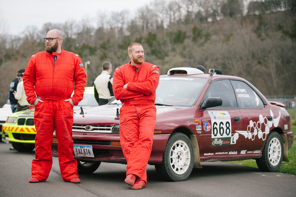 Co-driver Joseph Patava, left, and driver Jeff Timpe hang out with their 1995 Subaru Impreza.