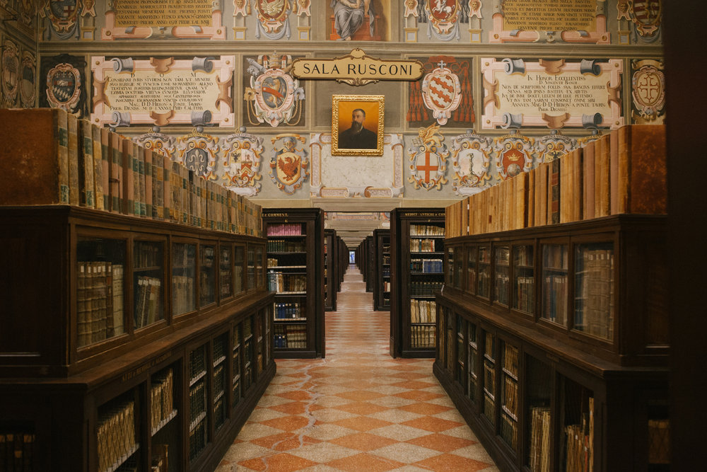 Archiginnasio Municipal Library in Bologna, Italy.