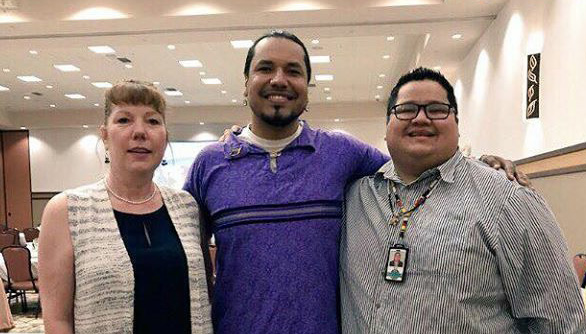"Melissa Moe, Gyasi Ross, and David O'Connor at ""Addressing the misconceptions of native americans"" in stevens point on june 16, 2017."