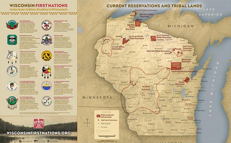 Tribal Lands Map and Native Nations Facts   ~ Wisconsin First Nations - American Indian Studies in Wisconsin