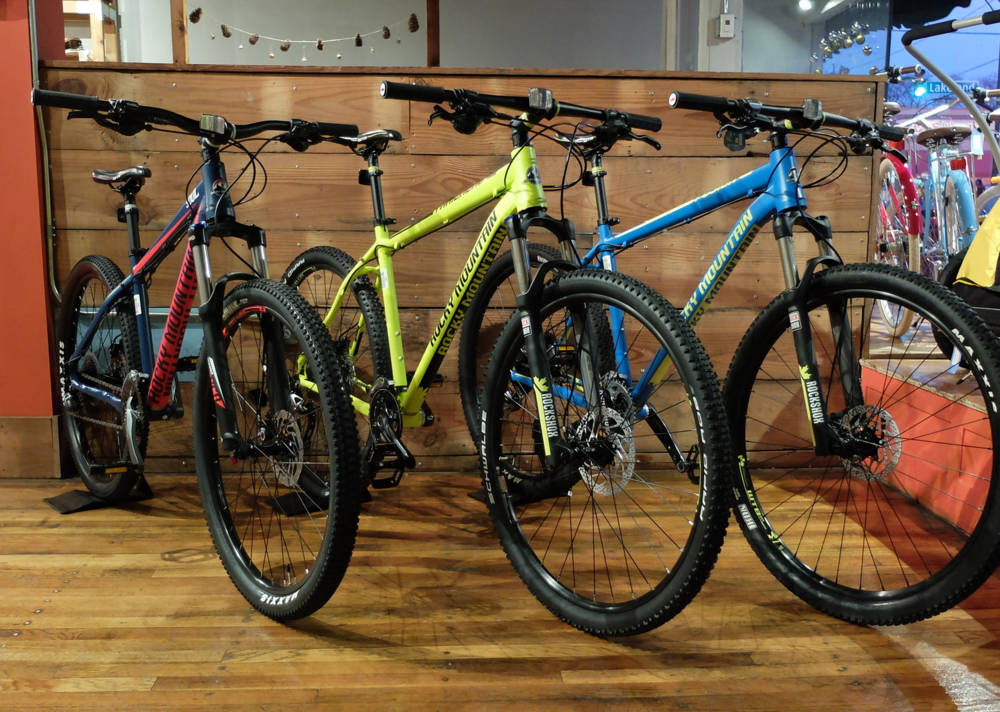 From L-R - the Soul 27.5, Trailhead and Fusion 29'er. Amazing colors for amazing bikes.