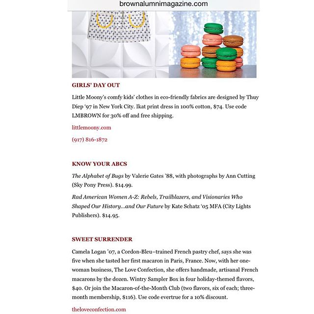 So incredibly #honored to have my #macbabies featured in the alumni holiday gift guide of my alma mater, @brownu ! No better feeling than receiving kind words about my #sweets from one of my favorite place on Earth. Order wintry sampler boxes and/or #macaron of the month subscriptions for your loved ones this holiday season! 10% discount with code evertrue (link in bio) 😊