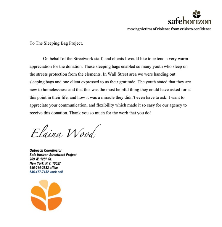 Appreciation letter from our friends at safehorizon streetwork thank you so much for your help thus far and remember no donation is too small we have a long and cold winter ahead of us thank you expocarfo