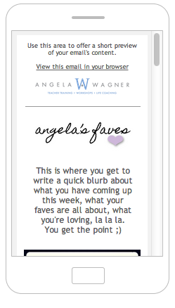 Angela's Faves Email- Mobile View