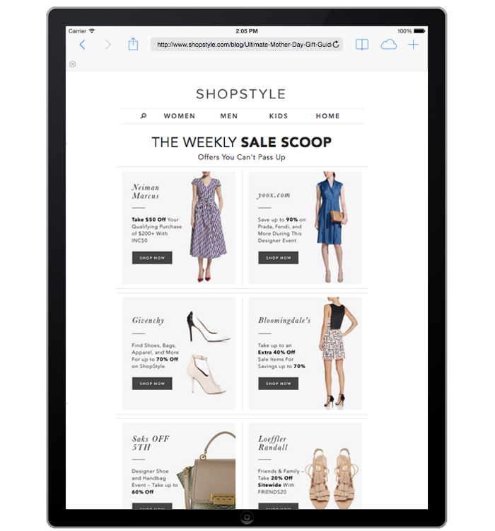 Shopstyle.com Daily Email Collaboration