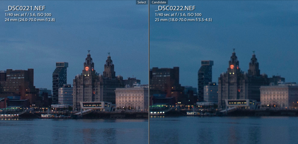 On the left you will see a zoomed in sample of the image taken using the 24 - 70 mm f/2.8, on the right the 18 - 70mm f/3.5 - f/4.5