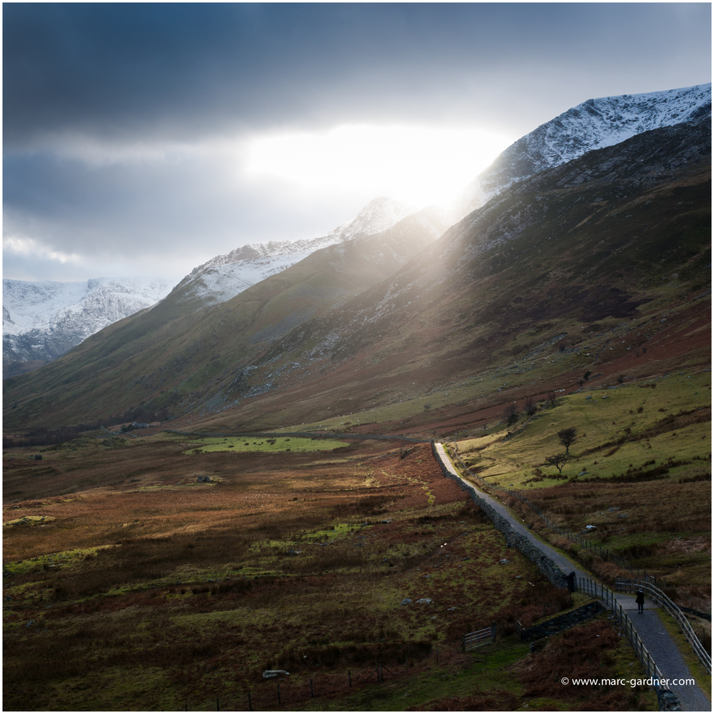 Crepuscular Rays 'Gods Fingers' breaking through the low cloud cover threw patterns of light onto the valley floor.