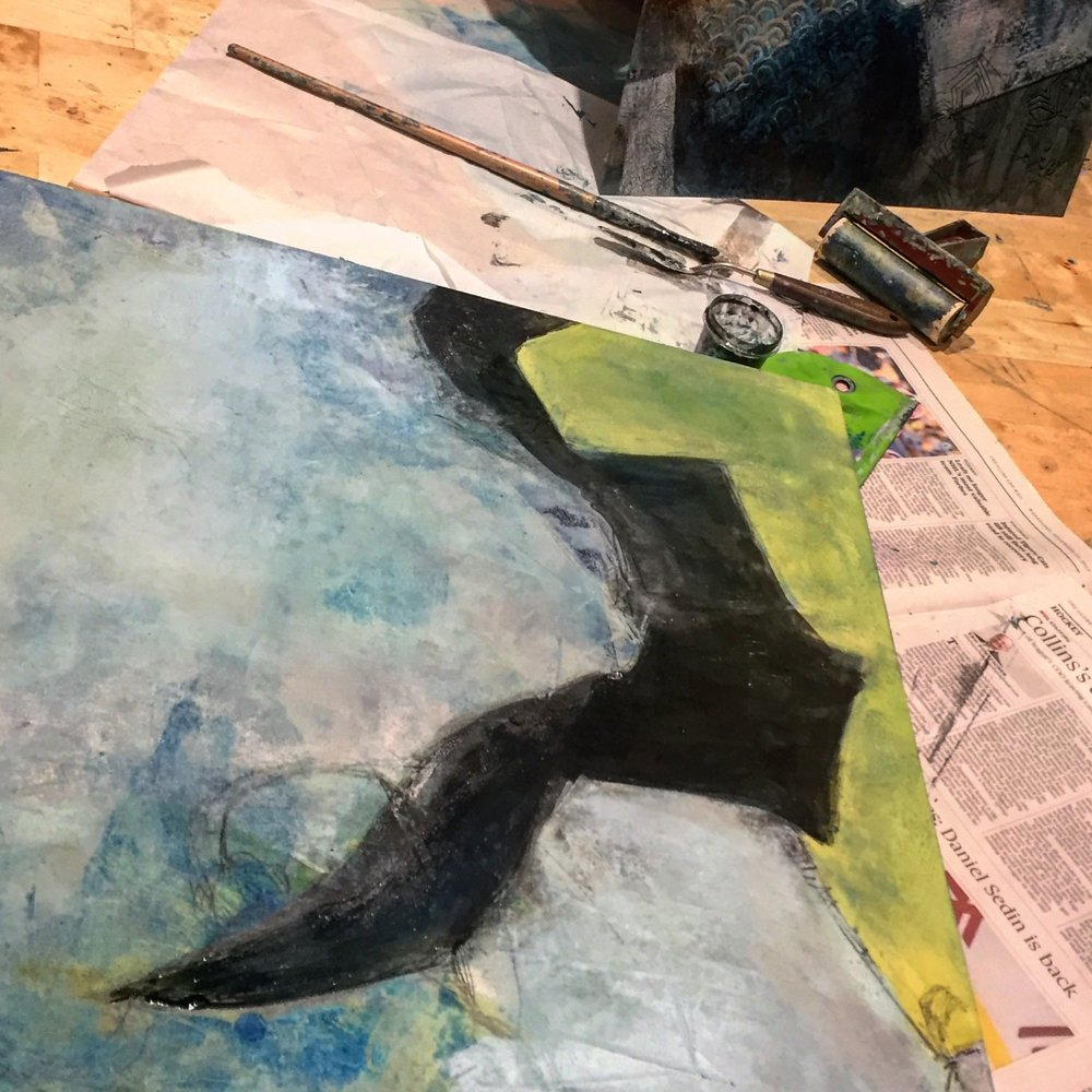 Part of my anxiety is perfectionism. Sharing imperfect, and incomplete paintings in a messy studio on social media feels a bit like immersion therapy....