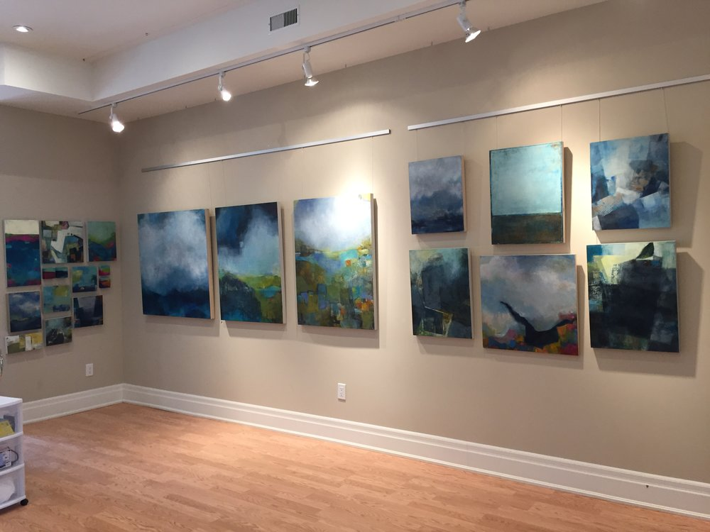 Some of my Sky paintings on display.