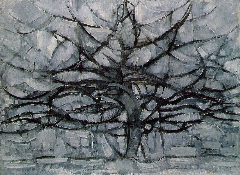 """Curves are so emotional."" - Piet Mondrian    This painting is named Gray Tree, but clearly it is about so much more."